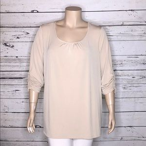 Susan Graver 2X Tan Ruched Sleeve Tunic Blouse
